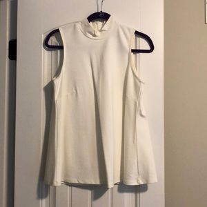 White mock neck tank top